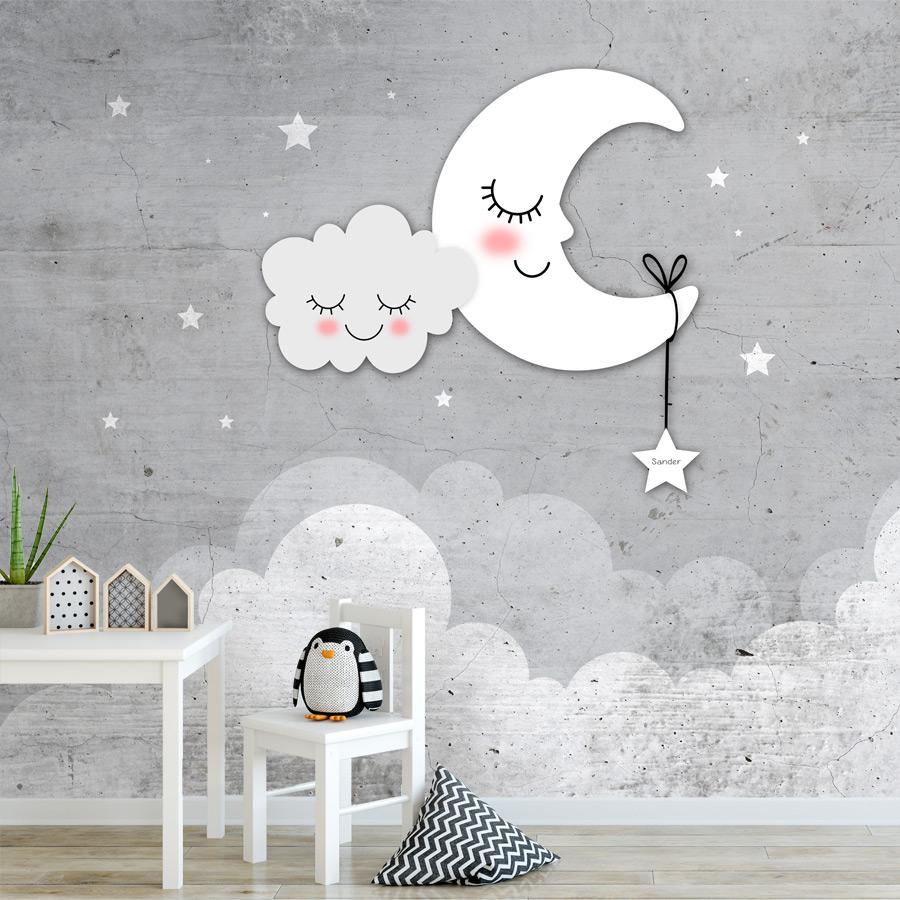 Verbazingwekkend Behang babykamer sterren, maan en wolken grijs WV-56