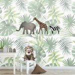 Jungle dieren behang kinderkamer babykamer