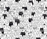 katten kinderbehang zwart wit