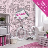 hartjes behang roze grijs meidenkamer