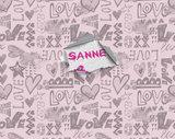hartjes behang roze met eigen naam