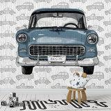 behang auto kinderkamer met eigen naam blauw wit grijs