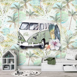 Behang strand surf beach retro volkswagen groen