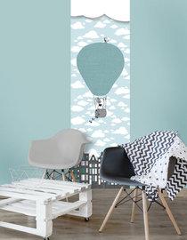 Baby behang paneel: Luchtballon mint grijs