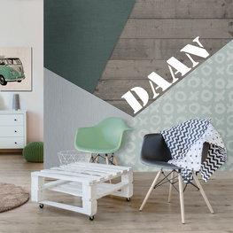 Fotobehang colorblocking groen met eigen naam