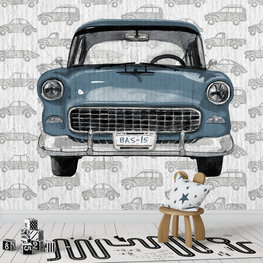 Retro behang kinderkamer: Auto met eigen naam