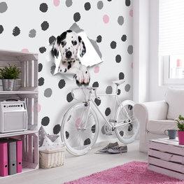 Fotobehang dalmatiër zwart wit roze stippen