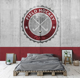 Hockey behang rood met eigen naam