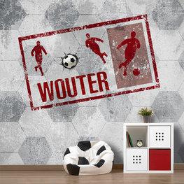 Voetbal behang rood met eigen naam