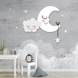 Behang maan, wolken en sterren grijs met eigen naam