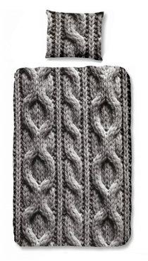 Dekbedovertrek kabel breiwerk grijs