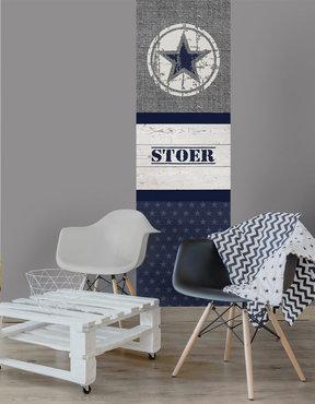 Jongens behang paneel: Stoere ster blauw
