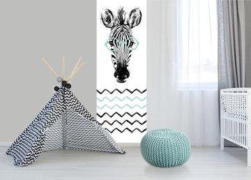 Kinderbehang paneel: Zebra mint