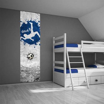 Kinderbehang paneel: Voetbal blauw
