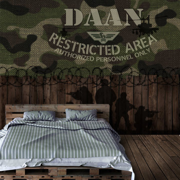 Behang leger camouflage met eigen naam