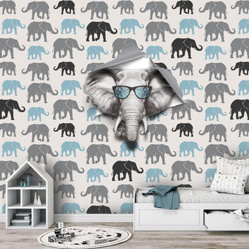 Behang kinderkamer olifant