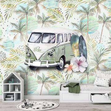 Retro strand / beach / surf groen behang met eigen naam