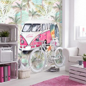 Retro strand / beach / surf roze behang met eigen naam