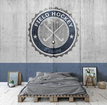 Hockey behang blauw met eigen naam