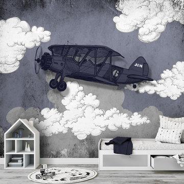 Vliegtuig blauw grijs behang met eigen naam