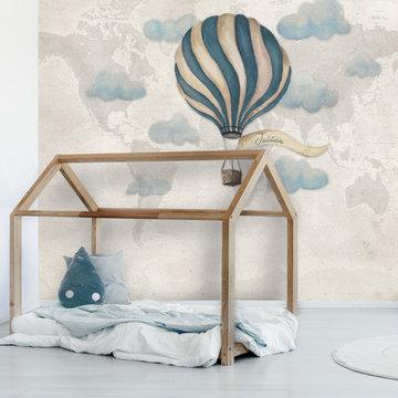 Behang luchtballon met eigen naam