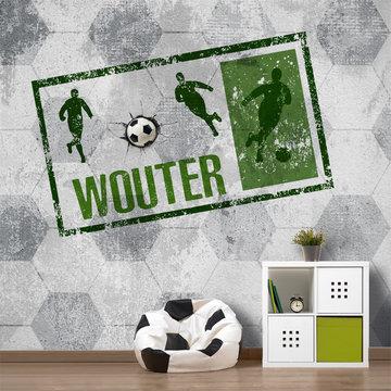 Voetbal behang groen met eigen naam