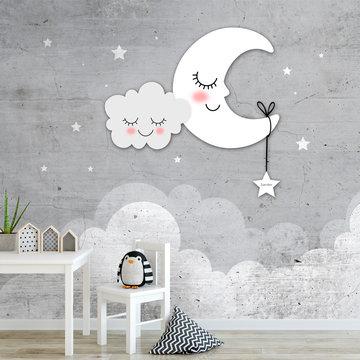 Kinderbehang maan, wolken en sterren grijs met eigen naam