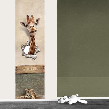 Kinderbehang paneel: Jungle giraf met naam