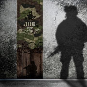 Kinderbehang paneel: Leger camouflage met naam