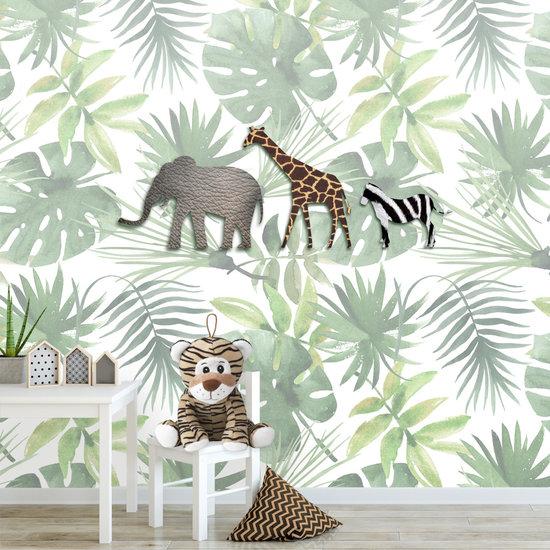 Jungle Dieren Behang Kinderkamer.Fotobehang Jungle Dieren