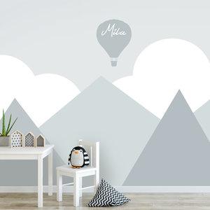 Kinderbehang mint grijs babykamer wolken en bergen