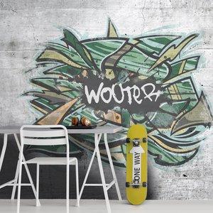 Grafitti behang groen met eigen naam