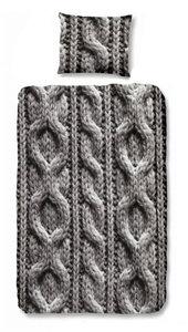 Dekbedovertrek breiwerk grijs