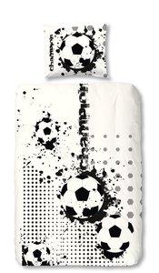 Voetbal dekbed zwart wit grijs