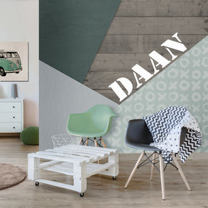 Fotobehang colorblocking groen mint kinderkamer