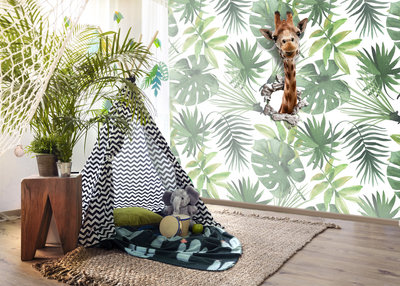 Dieren Behang Kinderkamer : Jungle behang met giraf kinderbehang