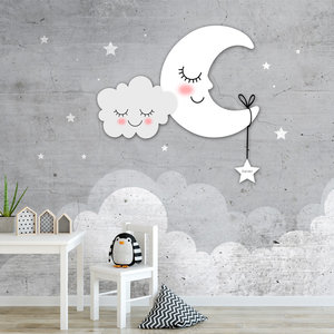 Grijs Behang Babykamer.Behang Babykamer Sterren Maan En Wolken Grijs