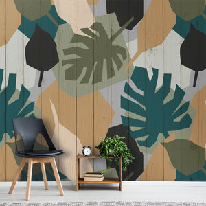 Jungle behang botanisch spiced honey oker groen